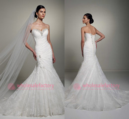 Wholesale 2014 Pure White All Over Lace Mermaid Wedding Dresses Sweetheart with Beads Lace Up Back Ruched Pleats Court Train Fall Wedding Gowns Y21262