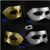 Wholesale Halloween Christmas party masks Men s Greco Roman warriors retro silver masquerade masks Gold silver two color options c158