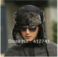 Wholesale Wind Water Proof Trapper Hat Women Rabbit Fur cap Russian Hat bomber caps for men winter hats