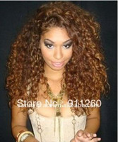 "Cheap 20"",Two Tone color,Curly ,100% Indian Human Hair,150% Density Glueless Lace Front Wig Custom Order"