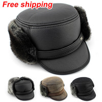 Wholesale Winter hat new ear protector cap bomber Hats for men windproof Russian old man hats warm hat