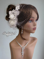 Wholesale 2015 Cheap Ivory Nice Simple Bridal Party Fascinator Pearl Flower Leaves Wedding Hat Veil Birdcage Hair Accessories