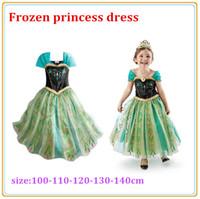 Cheap Frozen Elsa Anna Girl's Costume dresses tulle Short sleeve baby girl dress princess girls party dress DHL shipping free(0701003)