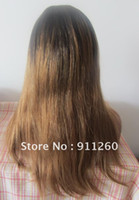 """Cheap 18"""", T Color #1B #10,Natural Straight,Indian Human Hair,Two Tone Lace Front Wig,"""