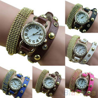 Cheap Women's Metal Golden Mesh Bracelet Rhinestone Faux Leather Band Quartz Wrist Watch