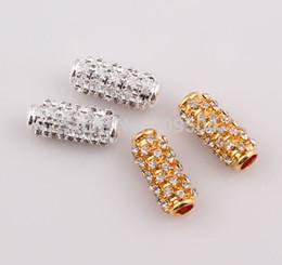 25 * 10m m 2014 nuevos granos cristalinos de los conectadores del tubo del metal del Rhinestone de los resultados de la joyería de la llegada para la pulsera lateral que hace ZBE284 desde conector de tubo de pulsera proveedores