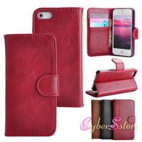 Wholesale For iphone S High Quality Retro Crazy Horse Wallet Flip PU Leather Case Cover With Credit Card Slot Stand Holder for iphone S G