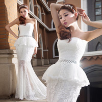 Cheap Real Model Pictures Strapless Mermaid Wedding Dresses Long Train Luxury Vintage Bridal Gown with Shiny Sash LPBNX E820