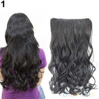 Wholesale Hot Fashion Full Head Clip Curly Wavy Women Wig Synthetic Hair Extension Extensions