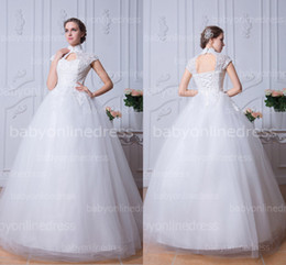 Wholesale Elegant cheap floor length ball gown wedding dresses with high neck applique lace up back cap sleeves romantic white bridal gowns BZP0375