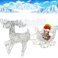 Cheap New Iron Shiny Santa Claus Deer Pulls Cart Wagon Without Snowman Christmas Gifts