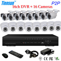 Wholesale 16CH Full H Real Time Network CCTV P HDMI DVR Kit TVL Outdoor Day Night Camera Surveillance System Support G WIFI PTZ