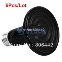 Cheap Wholesale 6Pcs Lot Black 150W 220V Ceramic Heat Bulb Lamp Reptile Pet Heat Light B16 TK0989
