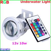 al por mayor 12v ir reflectores-Mejor impermeable llevó la luz subacuática 16 que cambia de color de control RGB LED piscina fuente del estanque de la lámpara de 10W 12V RGB Proyector Con 24Key IR
