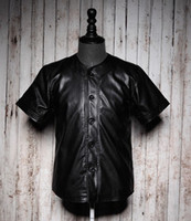 Wholesale Leather baseball jersey top men fashion leather shirt top Hip Hop Leather baseball men baseball t shirt jacket uniform black size S to XXXL