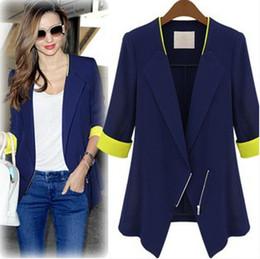 Wholesale Europe and America Slim Sleeve royal blue blazer fashion cheap business suits for women plus size blazer feminino