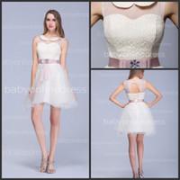 Wholesale 2014 New Sexy Crew Tulle Mini Cocktail Dresses Lace Top Knee Length Beaded Sash Short Party Prom Gowns BZP0378