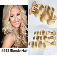 Cheap 6A Grade Hot Queen Hair 100% Brazilian virgin human remy hair Extension Weave Body Wave Hair Weft #613 blonde color 8''-28'' 3pcs lot