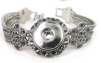 flower bracelet - New arrival cm metal snap button charm noosa Bracelet flower with grey cz stone DIY adjust bracelet
