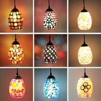 Wholesale indoor lamp fixture Bohemian Style Colorful Mosaic Glass Shell Suspension lamp fixtureCafe Restaurant led light lighting