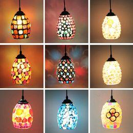 indoor lamp fixture bohemian style colorful mosaic glass shell suspension lamp fixturecafe restaurant led light lighting bohemian lighting