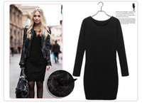 100% cotton plus size - 2014 autumn and winter women fashion cotton thickening velvet plus size one piece casual bottoming dress