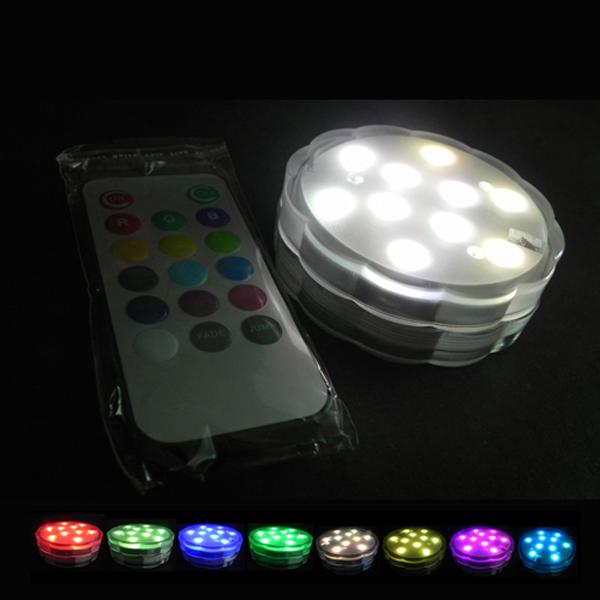 Flower RGB Submersible Wireless Remote Led Light RGB Dimmable 10leds AAA Battery  Powered for Aquarium Led Submersible Light Remote