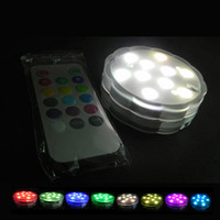 Wholesale flower RGB submersible wireless remote led light RGB dimmable leds AAA battery powered for aquarium