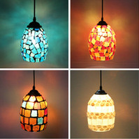 big green switch - Big Size Home Suspension Bohemian style Mediterranean style spension Hanging Lights Shell Mosaics Glass Retro Colorful Pendant Light