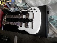 Cheap SG whrite double neck guitar electric guitar can be customized 6 strings+12strings Led Zeppeli Page Signed Aged