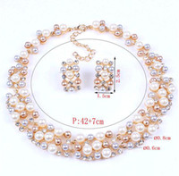 Wholesale 2014 new gold plated Pearl diamond necklace set Bridal jewelry set wedding pearl necklaces earrings suitgold plated jewelry sets
