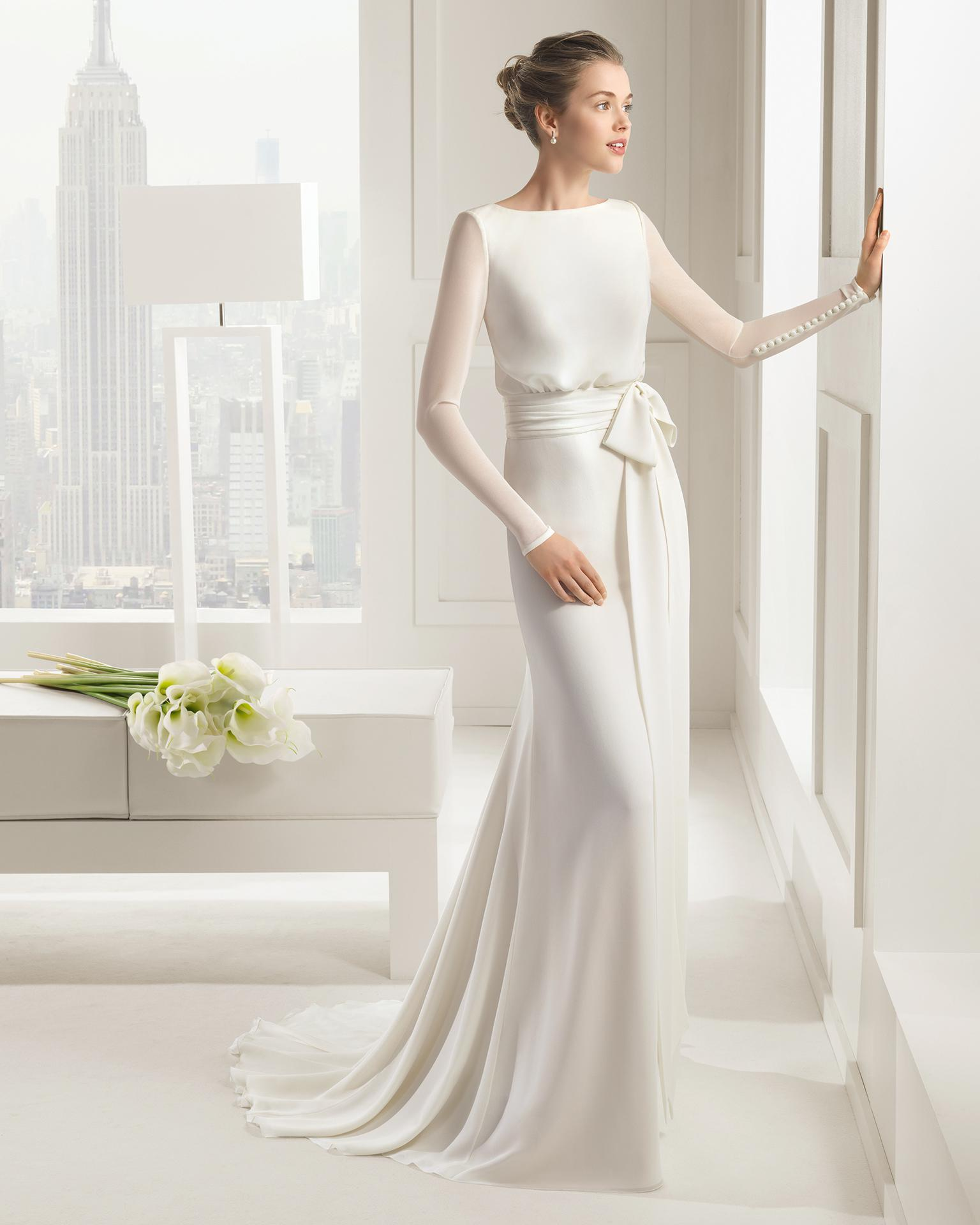 2015 ivory chiffon bridal dress long sleeve a line court for Long sleeve chiffon wedding dress