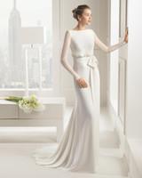 Wholesale 2015 Ivory Chiffon Bridal Dress Long Sleeve A Line Court Train Beteau Wedding Gown Vestidos Modest Wedding Dress With Sleeves Elie Saab