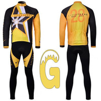 Wholesale LIVESTRONG Retro Long Sleeve Cycling Jersey Sets Breathable Jerseys and D Padded Pants Polyester Tops Bike Jersey Sets