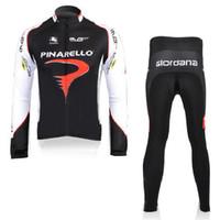 Wholesale Pinarello Team Cycling Jersey Set Long Sleeve Blue Shirt and Pants Mens Bike Suits Brethable Stylish Mens Black Bike Clothing
