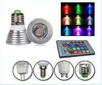 Wholesale free sipping Memory RGB W E27 E26 GU10 Led Bulbs Light E14 GU5 MR16 V V Led Spotlights Colors Change IR Remote Controller