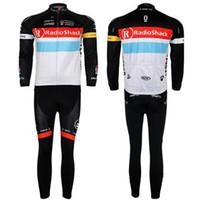 Wholesale Radio Shack Pro Team Cycling Jersey Set Long Sleeve White Shirt and Black Pants Fadeless Mens Mens Bike Suits Cycling Clothing