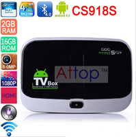 Cheap CS918S Google Smart Mini TV Allwinner A31S Android 4.4 TV Box with 5MP Quad Core 2G 16G BT RJ45 WIFI Media Player with Remote Controller 1pc