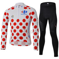 Cheap Tour De Le France Cycling Jersey Set Long Sleeve Red Dot Shirt and Pants Elastic Carrefour Cycling Clothing