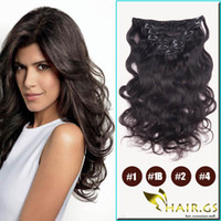 Wholesale 5a B Body Wave Brazilian Human Hair Extension Hair gs Products set Remy Hair Clip in Hair Extensions g bag
