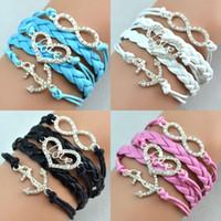 Wholesale Antique Diamonds Charm Anchor Heart Love Infinity Mix Colors Weave Leather Bracelets Fashion Bracelets Jewellery Free Drop Shipping