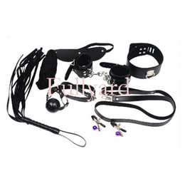 Wholesale Sex toys set couple sex games set Whip Rope Mouth Stuffed Nipple Clamps Mask Manacle Cuffs Under the Bed Restraint Systems