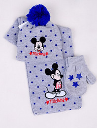 Wholesale 2015 New Winter designs children warm cartoon mickey car scarf hat gloves suit lovely kid boys girls Knitted scarf sets