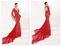 Cheap Red Illusion Lace Formal Evening Dress Mermaid Sheer Crew Neck Long Sleeve Hollow Brush Train Pageant Dresses 2015 Tarik Ediz 92502