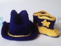 Wholesale 6 off West Virginia boy crochet cowboy hat and crochet boots suit shoes cowboy hat set NEW ARRIVAL Cotton BABY shoes