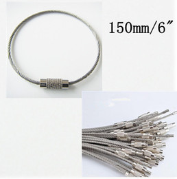 Wholesale 30pcs Wire Keychain EDC for keys Aircraft Cable Stainless Steel RING FOB mm