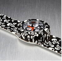 Cheap Wholesale - boy or Children's Colorful Bendable Japan movement quartz Silicone Band Skull Stripe colo Slap Watch,Perfect Gift For Christmas