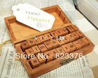 Wholesale Fedex Sets set Creative Lowercase Uppercase Alphabet wood rubber stamps set Wooden box