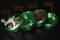 Wholesale Hot Part Space Alloy Tobacco Grinder Herb Spice Pollen Grinder Crusher Hand Crank Smoking Cracker mm Zinc Alloy Material With Layers