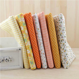 Wholesale 7pcs cm Yellow Cotton Quilting Fabric for DIY Sewing Patchwork Kids Bedding Bags Tilda Doll Baby Cloth Textiles Fabric